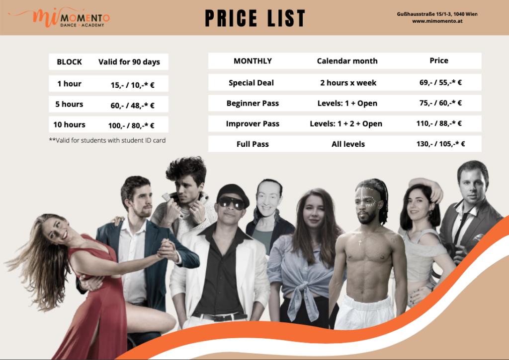 Price List for Salsa, Bachata Sensual, Kizomba, Tango Argentino and more